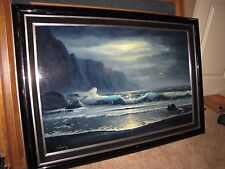 """*DELMARY* Original Oil Painting Hawaii Seascape 23""""x36"""" Large!"""