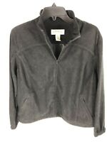 Orvis Womens Black Faux Suede Zip Up Softshell Jacket sz 16 P