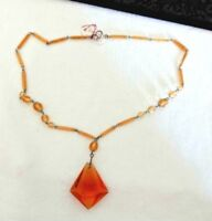 Art Deco Antique Vintage Faceted Hand Cut AMBER Glass Choker NECKLACE No chips