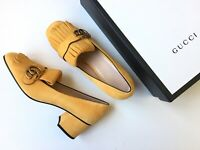 GUCCI Marmont Yellow Gold Suede Fringe Block Heel Sz 39.5, US 9.5 $800