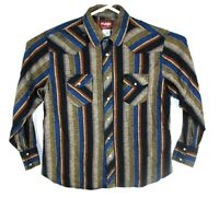 VINTAGE  Wrangler Western Pearl Snap Shirt L/S Cowboy Men's Size XL