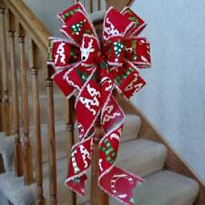 """10"""" Wide Red & White Christmas Bow~Decoration For Wreaths Crafts Gifts Tree Top"""