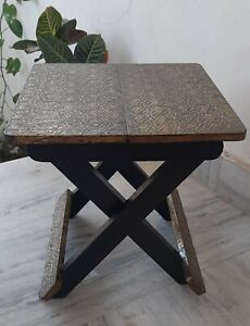 Vintage style wooden brass fitting folding table wood polished foldable stool