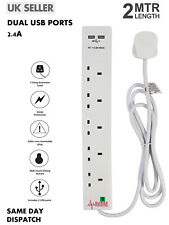 5 Way Gang 2m Switched Surge Protect Extension Lead with 2 USB Ports Portable UK