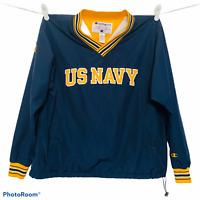 Champion US Navy Pullover Windbreaker Jacket V Neck Vintage 90s Mens Large