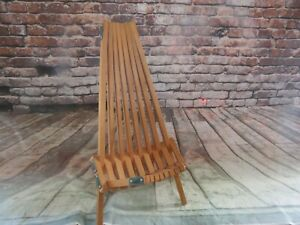 Vintage Pair (2) Children's MCM Slat Clam Folding Stick Chairs - Excellent Shape