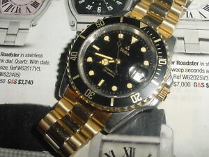Vintage WYLER VETTA Submatic tu-tone 200m DIVERS automatic mens watch