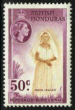 SG 187 BRITISH HONDURAS 1953 - 50c YELLOW-BROWN & REDDISH PURPLE - MOUNTED MINT