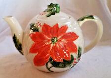 Vintage OTAGIRI Poinsettia Teapot 1980s White w/Coral Raised Deign 5.5x8.5 JAPAN