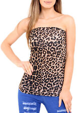 NEW WOMEN'S LADIES BANDEAU TOP ANIMAL LEOPARD PRINT STRAPLESS RUCHED BOOBE TUBE