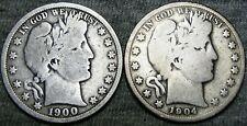 1900-O 1904-S Barber Half Dollar Silver Coin  ---- NICE Lot ---- #B995