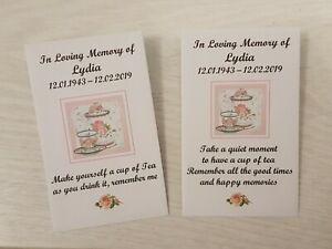 10 Personalised Tea Bag Envelopes Favours Funeral Memorial In Loving Memory