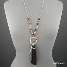 Long Antique Silver Hammered Cross O Ring Cross Soft Tassel Pendant Necklace