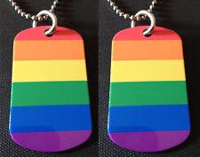 Rainbow Gay/Lesbian Pride Flag 2-Sided Dog Tag Necklace / Keychain FREE SHIPPING