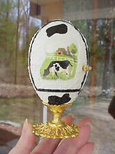 Painted REAL Carved Goose Egg Holstein Dairy Farm Cow Calf Collectible OOAK