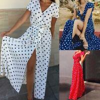 Boho Women Summer Holiday Polka Dot Maxi Dress V-neck Long Shirt Dress Size 6-24