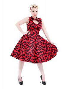 H&R LONDON BLACK RED SWEETHEART HEART COCKTAIL HALTER 50s PINUP VINTAGE DRESS