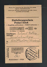 1942 Germany Mauthausen Concentration Camp money order Receipt Bohumit Patka
