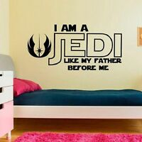STAR WARS I AM A JEDI LIKE MY FATHER BEFORE ME Wall Decal Words Quote Lettering