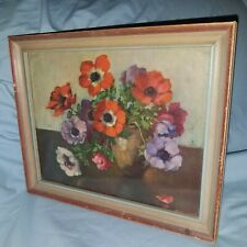 Vtg old wooden Nailed 8x10 Picture frame With Still Life Floral Artwork