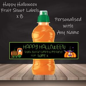 15 x Halloween Personalised Self Adhesive Fruit Shoot Bottle Labels Party