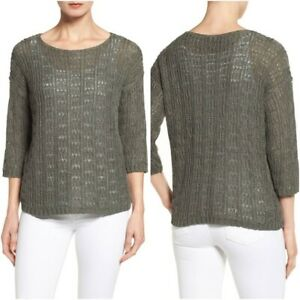 NEW Eileen Fisher Organic Cotton/Linen Open Knit Sweater in Gray -Size PP #R1
