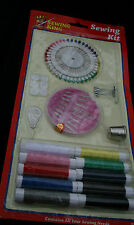 Sewing Kit 10 Coloured Threads Thimble Buttons Safety Pins Threader Pinwheel