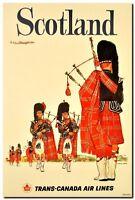 "Vintage Illustrated Travel Poster CANVAS PRINT Scotland 24""X18"""