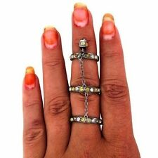 Natural Diamond Slave Full Finger Slave Ring Fine 925 Sterling Silver Jewelry OY