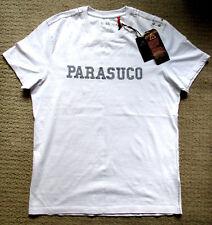 PARASUCO MENS DESIGNER WHITE T-SHIRT + NEW + SIZE:L +