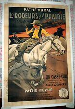 WESTERN 1927 PATHE RURAL SERIAL LES RODEURS DE LA PRAIRIE  AFFICHE ENTOILEE