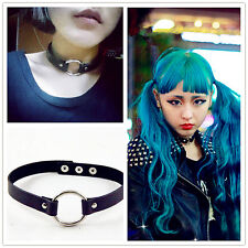 Punk Goth Rivet Handmade Chain PU Leather O-Ring Heart Collar Choker Necklace UK