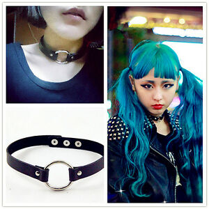 Punk Goth Rivet Handmade Chain PU Leather O-Ring Heart Collar Choker Necklace UK