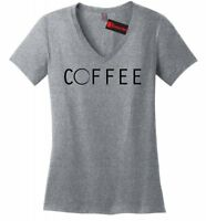 Coffee Stain Ladies V-Neck T Shirt Cute Coffee Lover Graphic Soft Tee Z5
