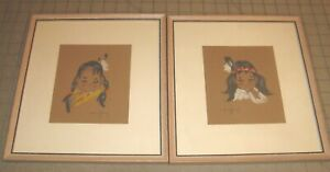 """1960's indigenous Boy & Girl Chalk Paintings in 10"""" x 10"""" Period Frames - Signed"""