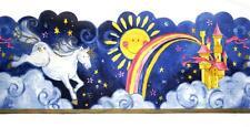 Castle Rainbow Cloud Fairy Unicorn Wallpaper Border Nursery Kids Room Wall Decor