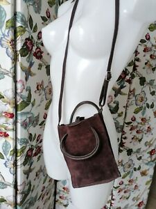 URBAN OUTFITTERS Mobile Lanyard Crossbody Bag brown  Suede BNWT