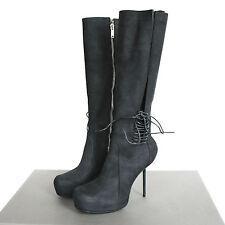 RICK OWENS $2910 black spike heel platform knee high zipper wader boots 37 NEW