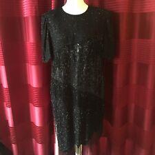 Scala Vintage 80s Black Silk Heavily Beaded Gatsby Flapper Dress XL UK 16-18