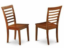 Set of 4 Milan dinette kitchen dining chairs w/ plain wood seat in cherry brown