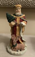 Vintage Windsor Collection Old World Santa Figurine with Deer and Christmas tree