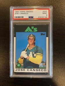 1986 Topps Traded Jose Canseco Rookie Card #20T PSA Mint 9