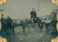 OUTDOORS Sixth Plate Ambrotype of Group of People in Carriage at the Races