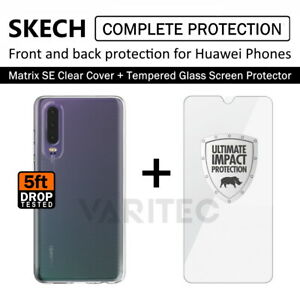 SKECH  Back Case Cover + Glass Screen Protector for Huawei P20 P30 Mate20 Pro Y6