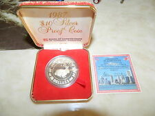 1987 SINGAPORE $10 SILVER PROOF COIN, YEAR OF RABBIT
