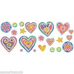 """15 Sweet Heart Flower Peel Stick Wall Applique Reusable Sticker 4 sheets 17""""x10"""""""