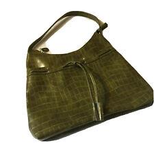 Croc Embossed Faux Leather Avocado Green Handbag Shoulder Bag Purse EUC
