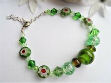 Handmade Glass Bead Bracelet ~ Green Lampwork Beads with Clasp ~ NEW