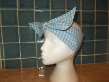 New Ladies Tie Headwrap/ Headband/ Bandana  (Pale Blue Gingham) PolyCotton