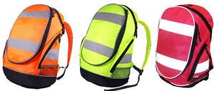 Hi Vis Rucksack Backpack in 3 Colours Cycling School Bag Reflective Safe Hi Viz
